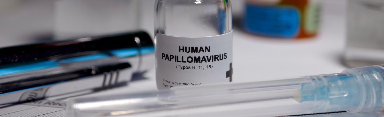 "A medicine bottle which reads ""Human Papilomavirus"""